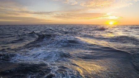 open sea, sunset, waves
