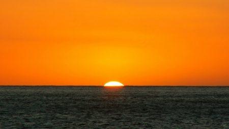 orange, dark blue, sea