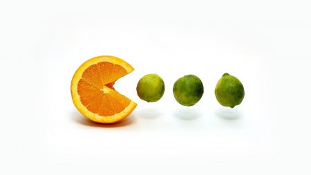 pacman, orange, lemon
