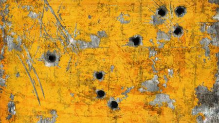 paint, metal, bullet holes