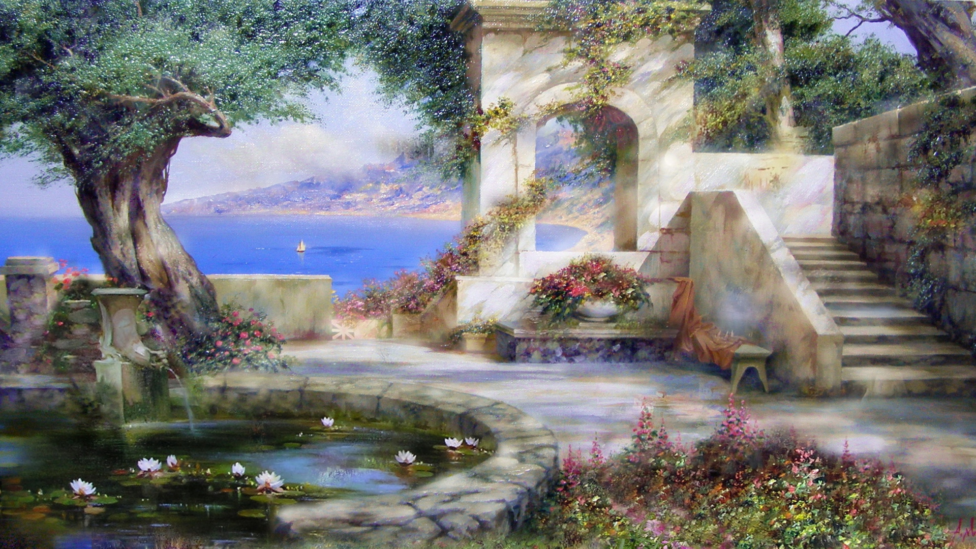 Download Wallpaper 1920x1080 Painting Art Fountain