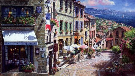 painting, france, town