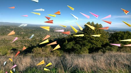 paper airplanes, origami, grass