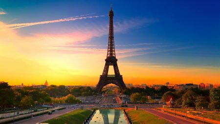 paris, eiffel tower, dawn