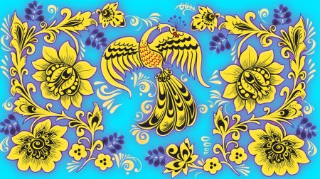 pattern, khokhloma, birds