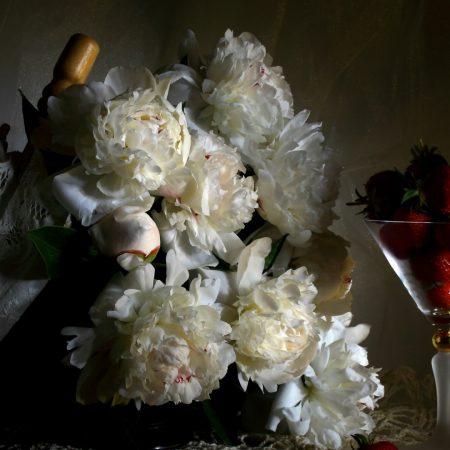 peonies, flowers, berries