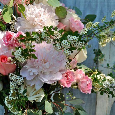 peonies, roses, tea tree