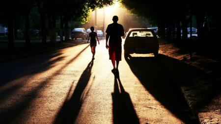 people, road, shadow