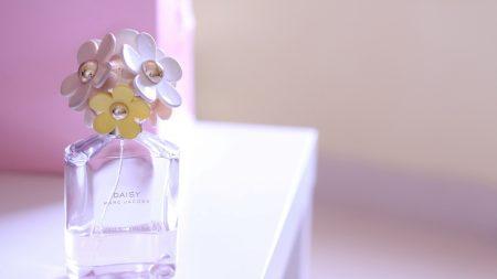 perfume, flowers, bottle