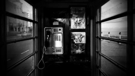 phone, booth, black white