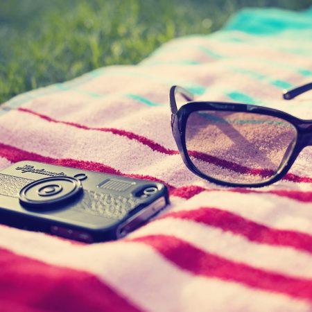 phone, glasses, towels