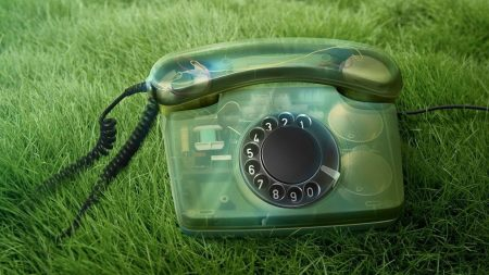 phone, old, grass
