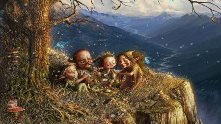 picnic, elfs, family