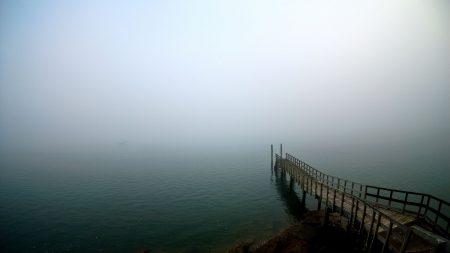 pier, lake, descent