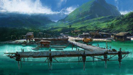 pier, mooring, huts