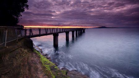 pier, sea, evening