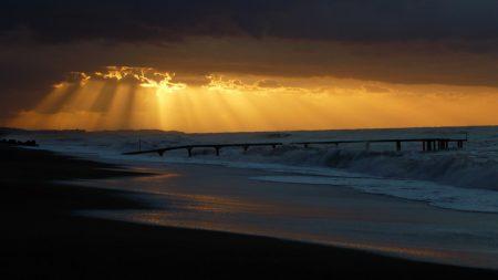 pier, sea, waves