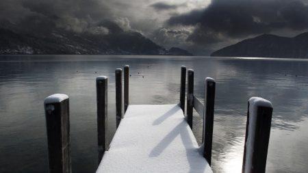 pier, winter, snow