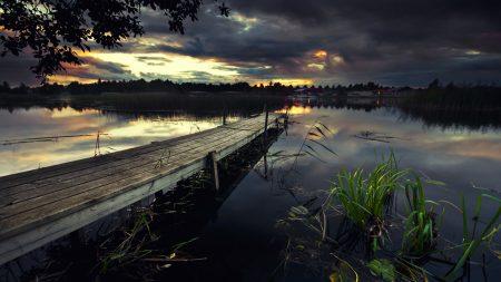 pier, wooden, evening