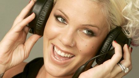 pink, headphones, face