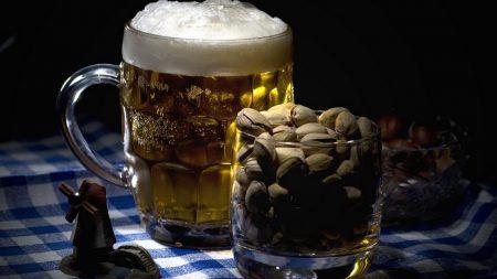pistachios, beer, mug