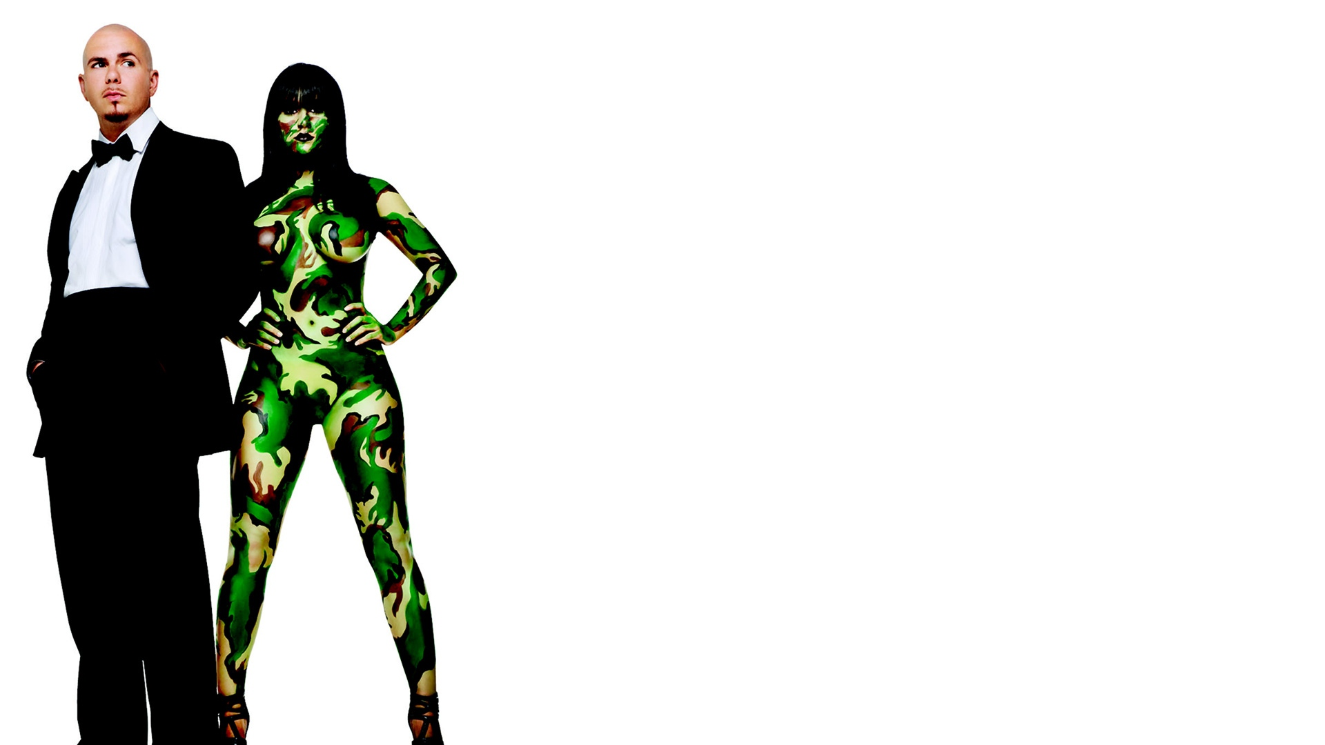 Download Wallpaper 1920x1080 pitbull, girl, body art, suit