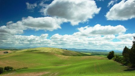 plain, greens, clouds