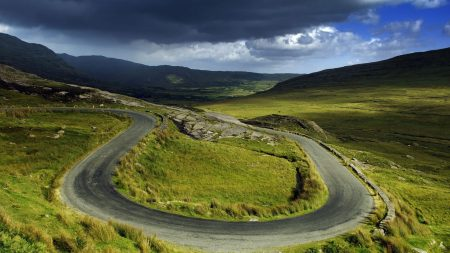 plain, road, bends