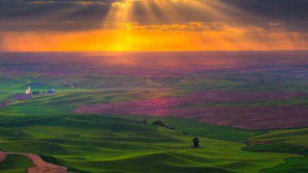 plain, road, fields