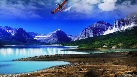 plane, lake, mountains