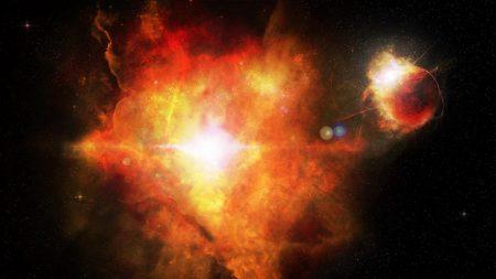 planet, flash, nebula
