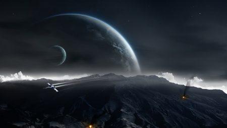 planet, fragments, falling
