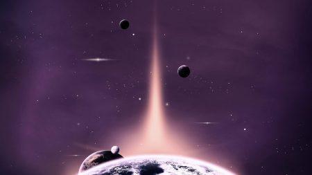 planet, ray, light