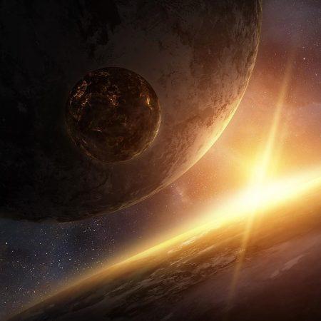 planet, rays, light