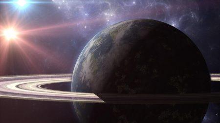 planet, ring, light