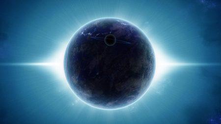 planet, satellite, rays