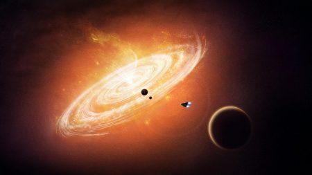 planet, shuttle, circles