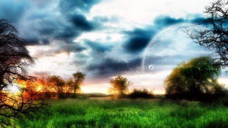 planet, sky, trees