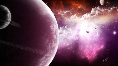 planets, fog, stars
