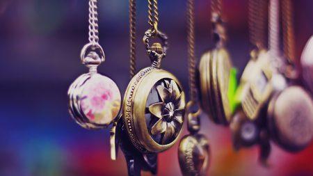 pocket watch, chain, set