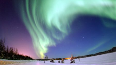 polar lights, sky, stars