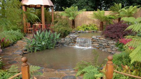 pond, arbor, falls