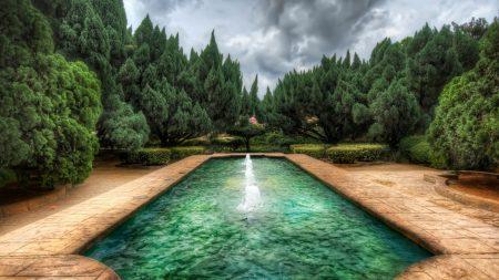 pool, fountain, wood