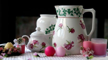 porcelain, service, flowers