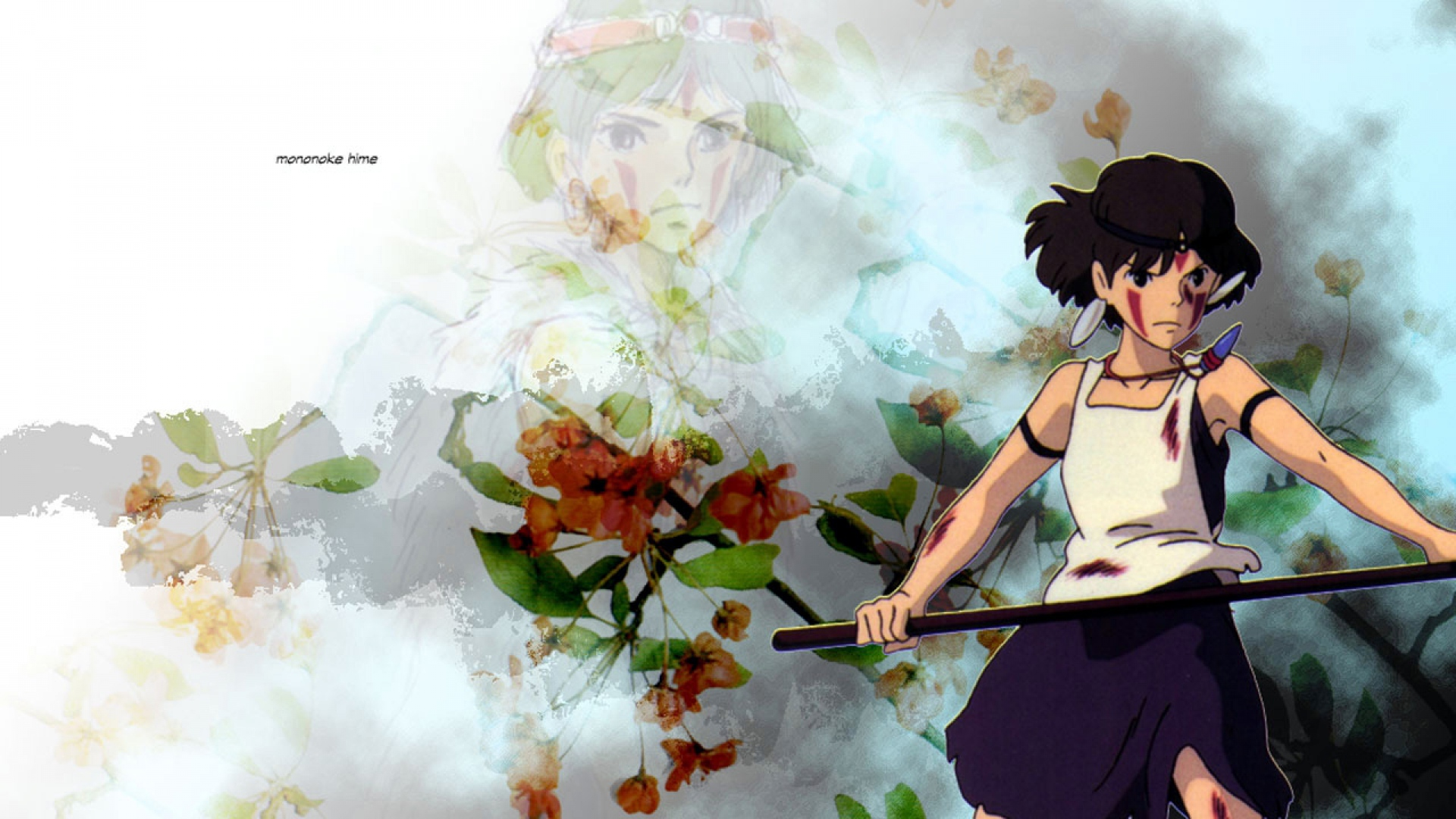 Download Wallpaper 1920x1080 Princess Mononoke Girl Sword Blow Weapons Preparedness Flowers Full Hd 1080p Hd Background