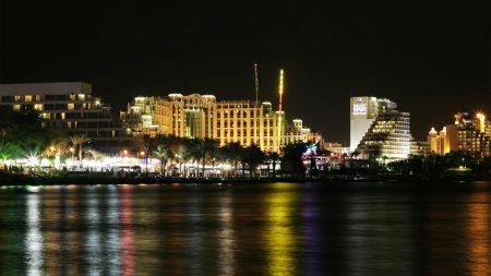 promanade beach at night, red sea, eilat