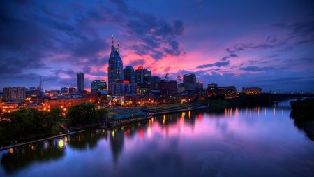 purple sunset, city, buildings