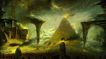 pyramid, fire, rocks