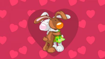 rabbits, hugs, pink