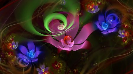 ractal, flowers, multicolored